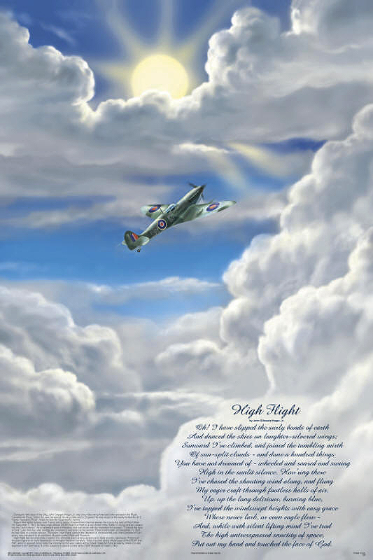 photograph relating to High Flight Poem Printable known as Superior Flight - Worlds greatest well known aviation poem